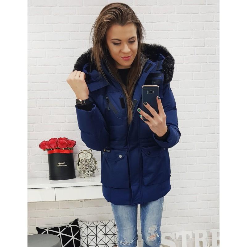 Tmavo-modrá dámska zimná bunda s vreckami a odnímateľnou kapucňou cafe30d7b95