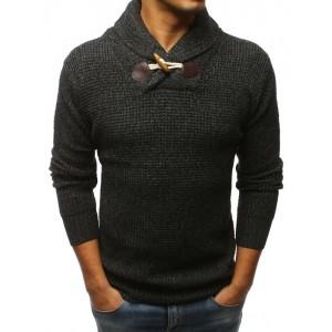 Štýlový čierny pánsky sveter so zapínaním na jeden drevený gombík