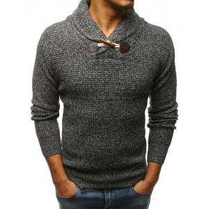 Sivý pánsky sveter na voľný čas s hrubým golierom a jedným gombíkom