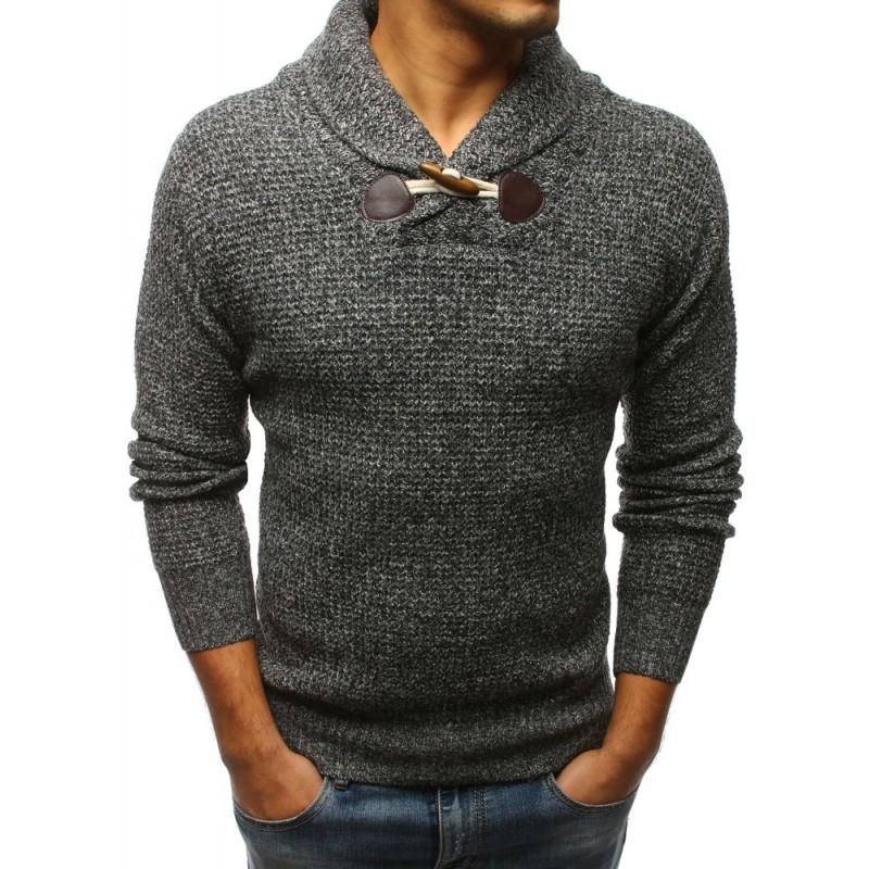 8cf813f5aa7d Sivý pánsky sveter na voľný čas s hrubým golierom a jedným gombíkom