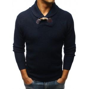 Moderný pánsky pletený sveter v tmavo-modrej farbe s hrubým golierom