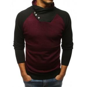 Pánsky bordový sveter s vysokým golierom v kombináci s čiernou farbou