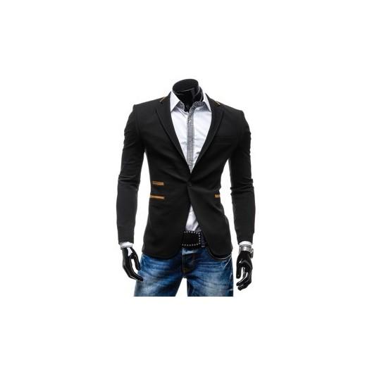 Značkové pánske sako k rifliam čiernej farby
