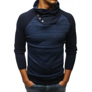 Trendy modrý pánsky sveter s vysokým golierom a zapínaním na gombíky