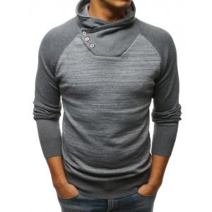 Sivý pánsky sveter s originálnym vysokým golierom na gombíky