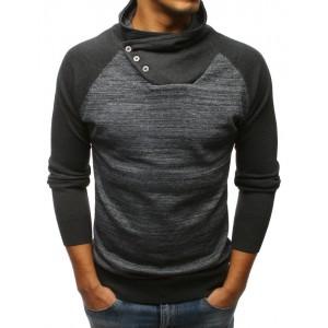 Športový pánsky sveter cez hlavu v tmavo-sivej farbe