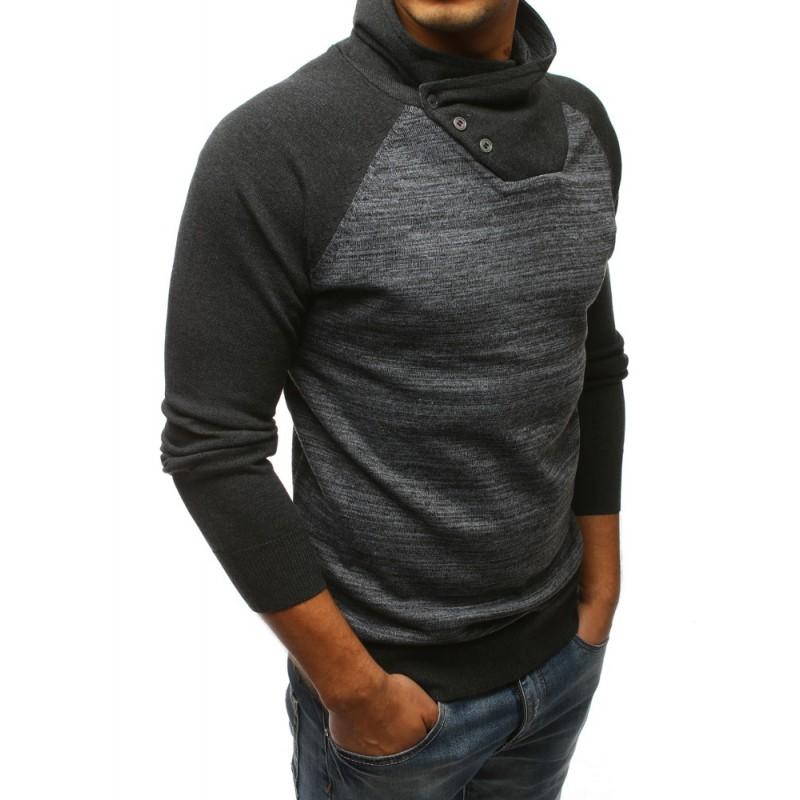 0c2dabcd61fe Športový pánsky sveter cez hlavu v tmavo-sivej farbe