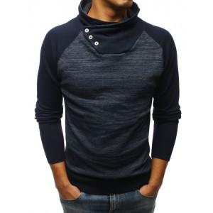 Tmavo-modrý pansky sveter v kombinácii dvoch farieb s vysokým golierom