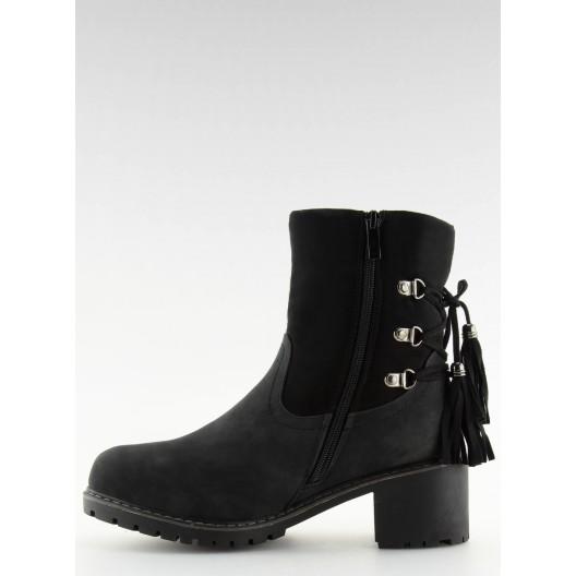 Extravagantné čierne kotníčkové čižmičky s módnym viazaním