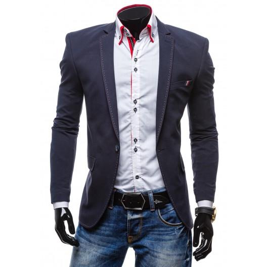 Formálne pánske sako s prešívaným vzorom modrej farby