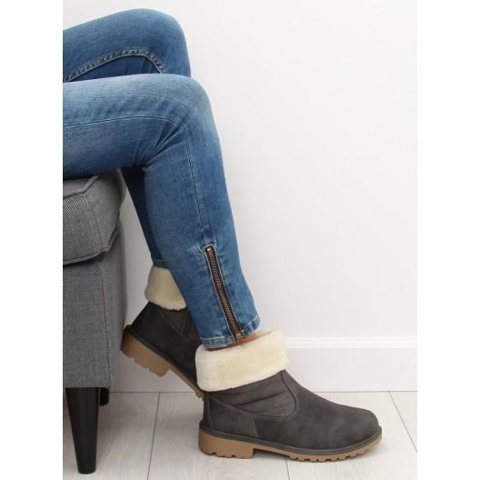 Dámske členkové zateplené nízke čižmy v šedej farbe