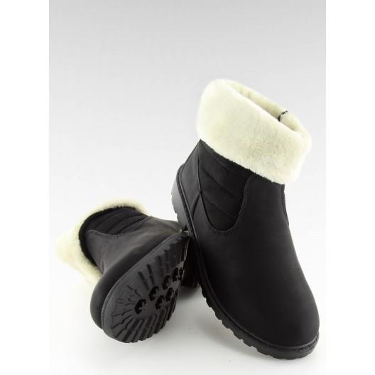 Štýlové čierne kotníčkové čižmičky s bielou kožušinkou