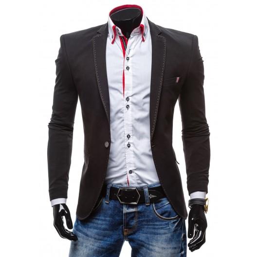 Formálne pánske sako k rifliam čiernej farby s prešívaným vzorom