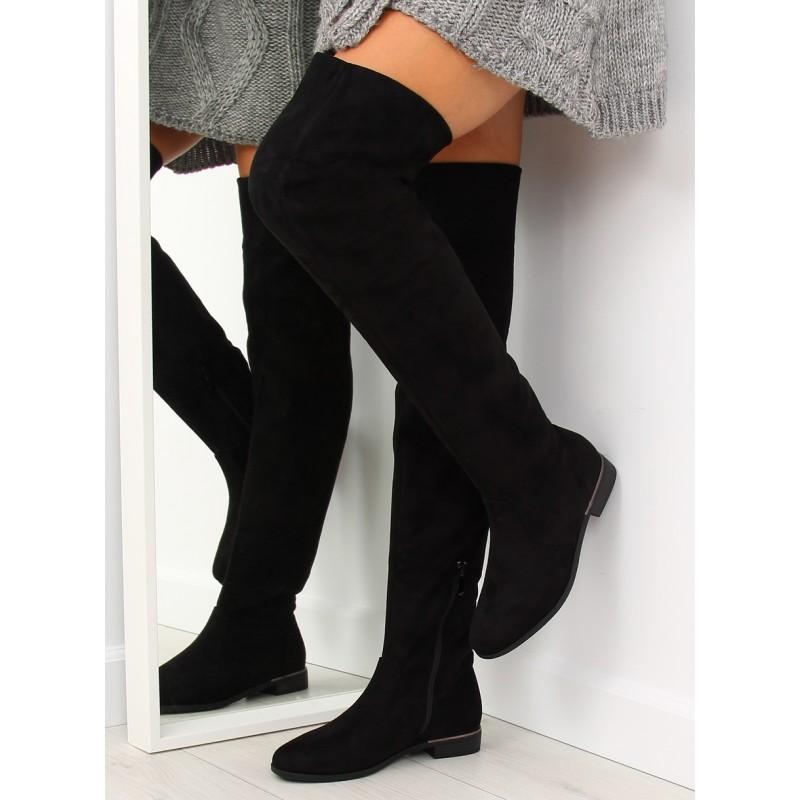 b1641c46faba Dámske čierne čižmy nad kolená na nízkom ozdobnom opätku