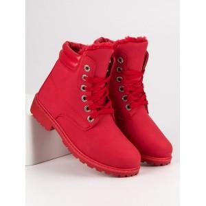 Štýlové červené zateplené dámske workery