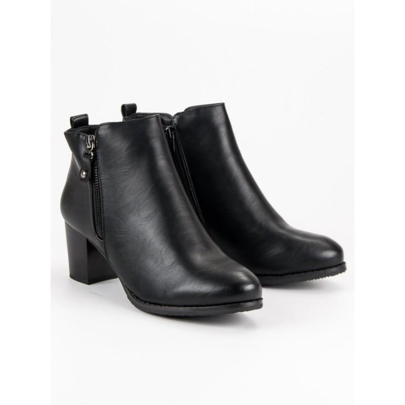 afbaf2b1bce9 Čierne členkové zimné topánky na hrubom opätku s dizajnovým zipsom