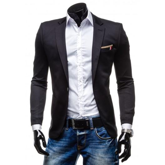 Atraktívne pánske sako čiernej farby s gombíkovým zapínaním