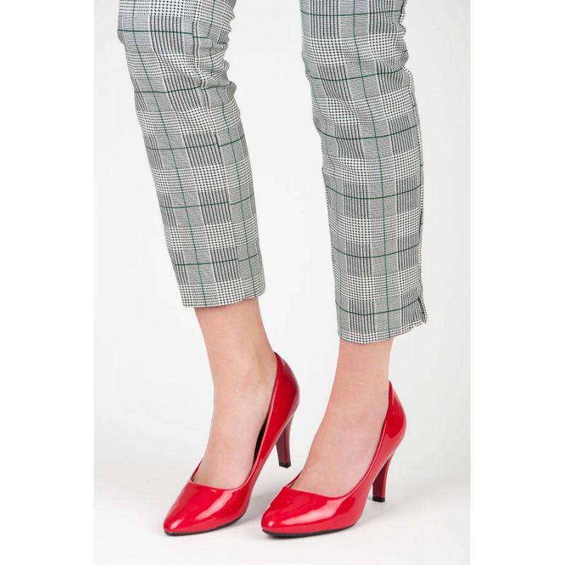 29813b3072 Spoločenské dámske červené lakované lodičky na vysokom opätku