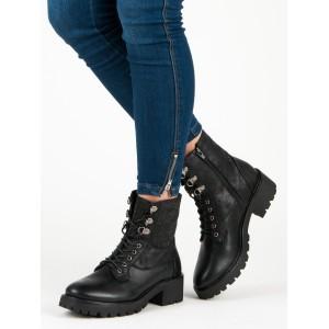 Dámske trendy workery v čiernej farbe s lesklými čiernymi kamienkami