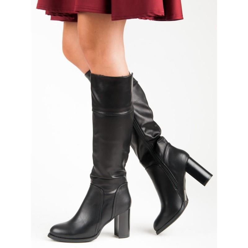 eeeb135bb6d4 Elegantné dámske čierne čižmy pod kolená na hrubom vysokom opätku