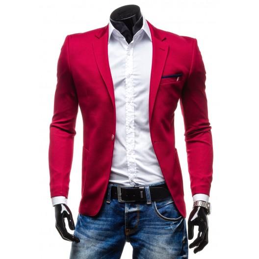 Neformálne pánske sako slim fit červenej farby
