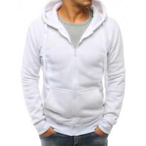 Štýlová biela pánska mikina na zips a s kapucňou