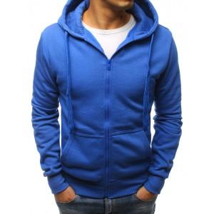 Pánska športová modrá mikina na zips a s kapucňou