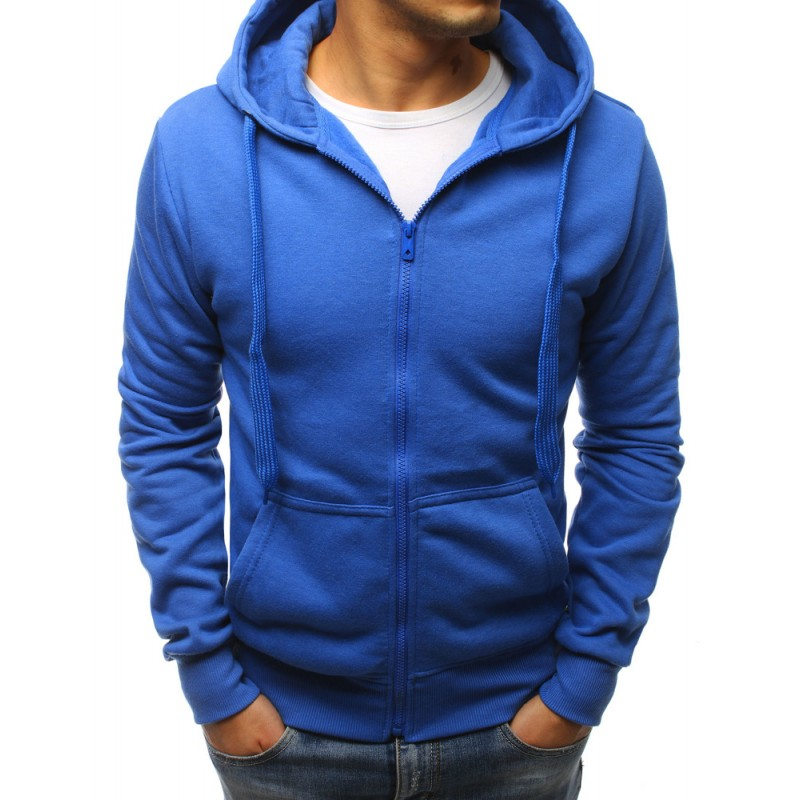 Pánska športová modrá mikina na zips a s kapucňou d26a53b3813