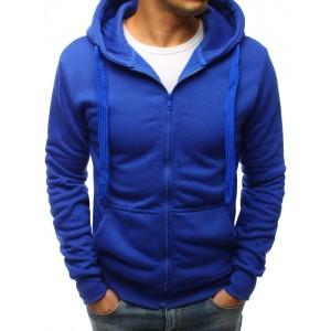 Pánska mikina v modrej farbe s kapucňou a zapínaním na zips