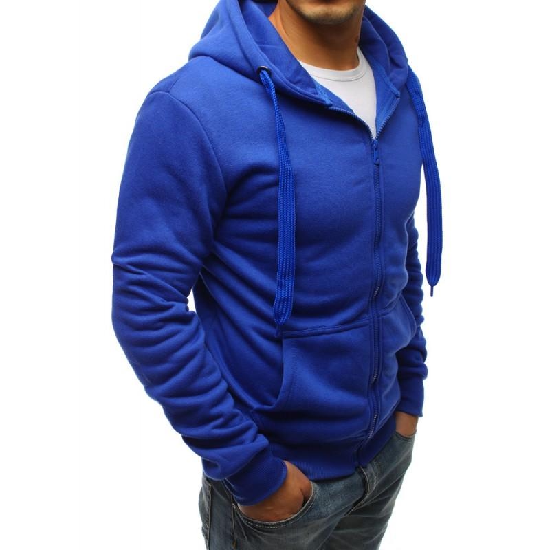 12e120371542 Pánska mikina v modrej farbe s kapucňou a zapínaním na zips