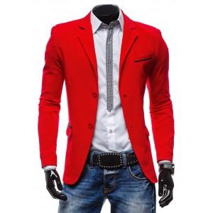 Trendy pánske sako sýto-červenej farby s dvojitým zapínaním