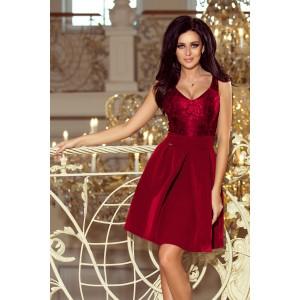 Elegantné čipkované šaty bordovej farby