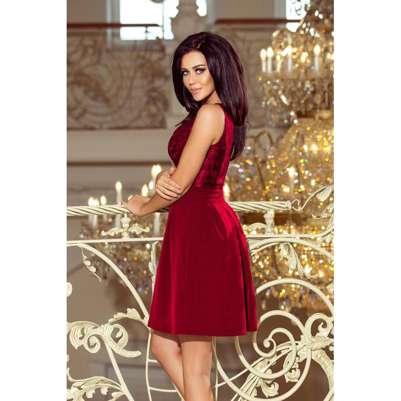 ad8e2dea7a63 Elegantné čipkované šaty bordovej farby