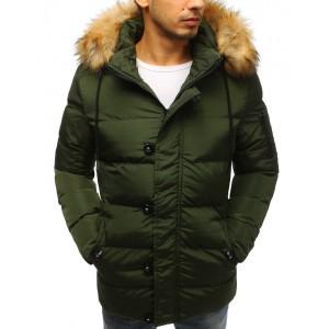 Zelená prešívaná pánska bunda na zimu so zapínaním na zips a gombíky
