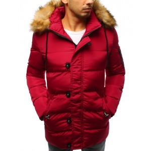 Pánska červená zimná bunda s kožušinou a zapínaním na gombíky a zips