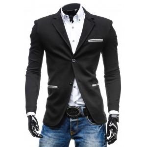 Čierne elegantné pánske sako so sivým lemovaním