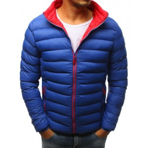 Pánska modrá zimná vetrovka s kontrastným červeným futrom a zipsom