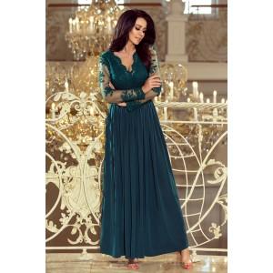 Luxusné spoločenské šaty tmavo zelenej farby