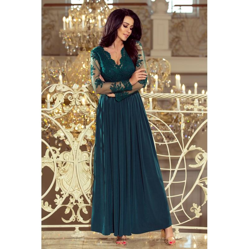 Luxusné spoločenské šaty tmavo zelenej farby 24304cc8a4d