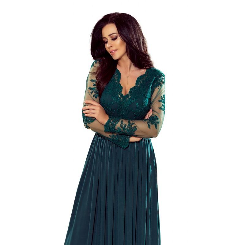 ad3c881af0ab Luxusné spoločenské šaty tmavo zelenej farby