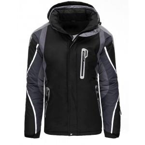 Čierna pánska lyžiarska bunda s kapucňou kombinovaná so sivou farbou