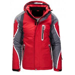 Pánska červená snowbordová  bunda s kapucňou a so zapínaním na zips
