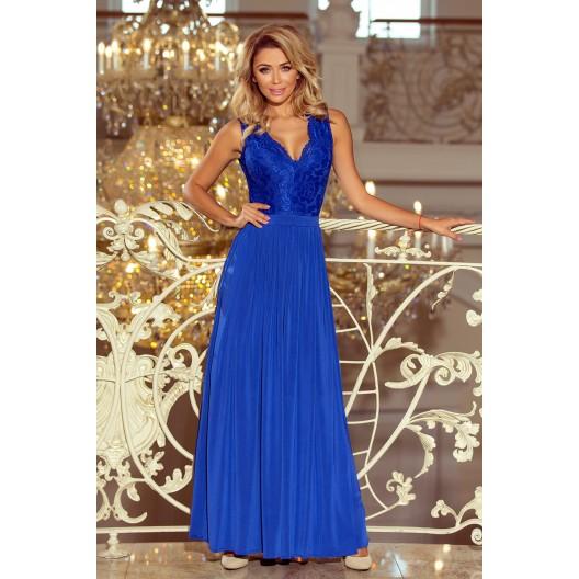 Dlhé modré šaty na stužkovú