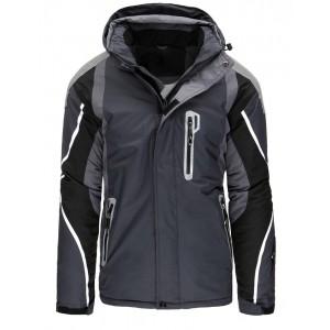 Štýlová tmavo-sivá pánska lyžiarska bunda so zapínaním na zips a cvoky