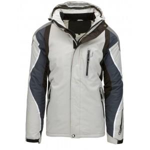 Trendy svetlo sivá pánska lyžiarska bunda s kapucňou a módnymi zipsami