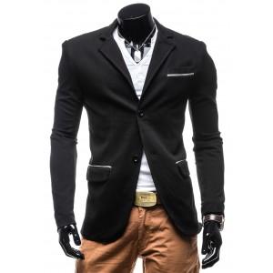 Exkluzívne pánske sako čiernej farby s dvojitým zapínaním