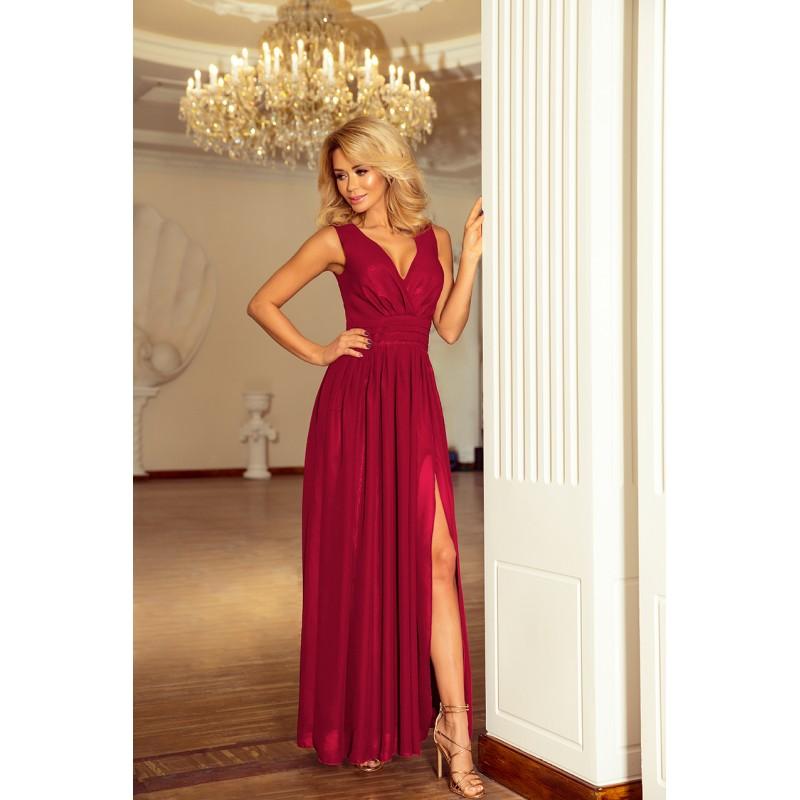 Luxusné dlhé spoločenské šaty bordovej farby 6a62301e5bf