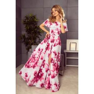 Spoločenské šaty dlhé s motívom kvetov