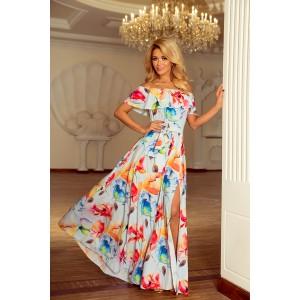 Dlhé elegantné šaty s motívom kvetov