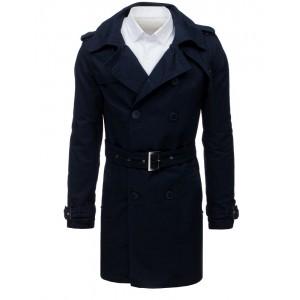 Štýlový pánsky kabát tmavo-modrej farby na dvojradove zapínanie